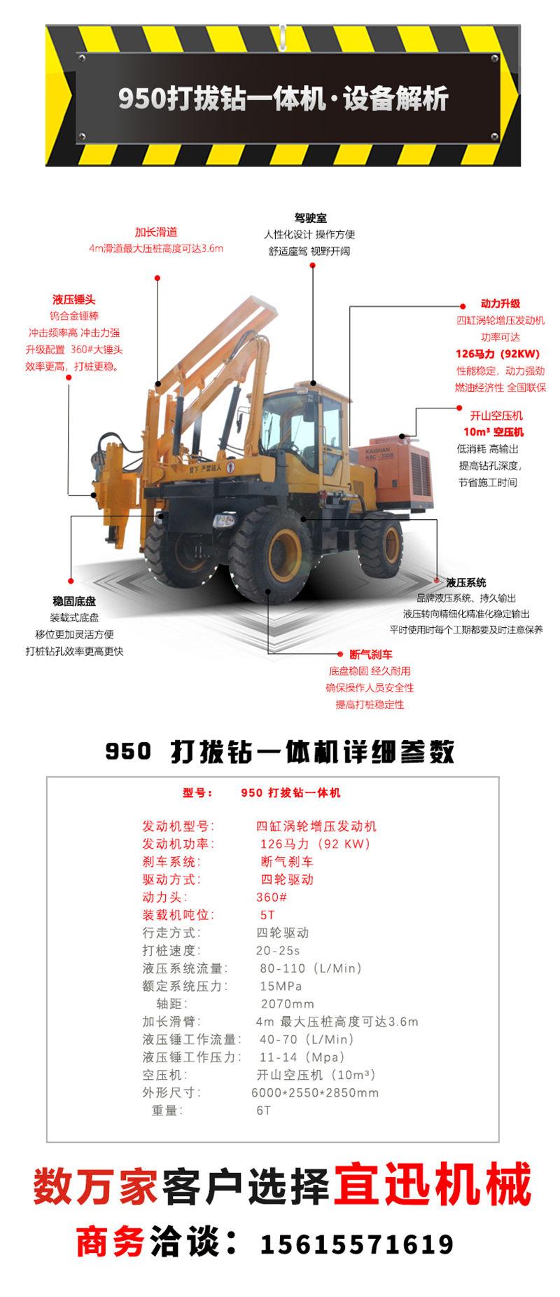 【多图】宜迅YX-950(10m³空压机)打拔钻一体机定制化+参数细节图_高清图
