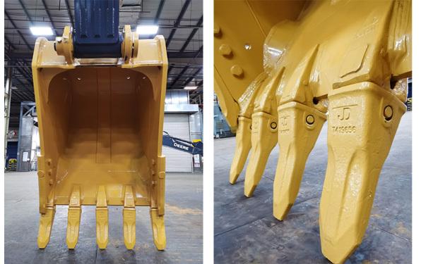 【铲斗】全新优化设计的铲斗,更加耐磨,针对不同的物料和工况采用不同的敞口宽度及斗齿和侧刃。