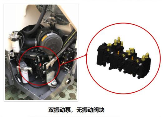 【振动系统】1.采用双振动泵的振动系统设计,减少了振动阀,确保更高的系统效率,降低燃油消耗和所需维护成本; 2.双泵振动系统,一个前振一个后振,可以根据需要选择关闭或开启; 3.振动包轻量化设计,节省能耗。