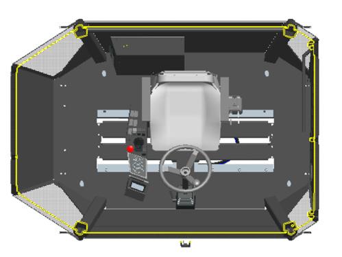 【人机工程】1.非凡的驾驶操作舒适性; 2.座椅连同操纵装置,可左右滑移,可180度旋转; 3.发动机位于后车架并远离驾驶室,便于降低驾驶室噪音和温度,极低的工作噪音保证了长时间工作状态下操作人员的身体健康。