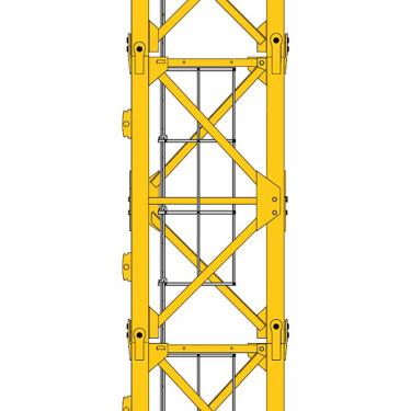 【片式标准节】MCT 138 配置L46片式标准节,销轴连接,提供更稳定的塔机机身强度和抗风性能。波坦的标准节通过125000次的循环测试,传承波坦基因的品质保证。