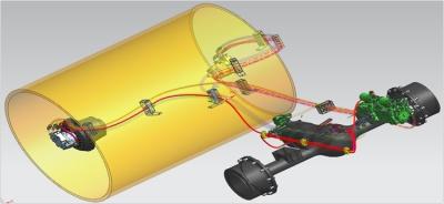 【制动系统安全可靠】前后轮液压制动,配置紧急制动系统,安全可靠。行车制动由闭式驱动液压系统的中位闭锁功能实现,行驶控制手柄回到中位机器自然制动。前轮减速机和后桥内部设置有常闭式制动器,由紧急制动开关控制,能快速实现整机制动;发动机熄火则机器则常闭式制动器自动实施制动,确保安全。