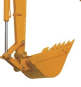 【大容量铲斗】同级别最大斗容,达0.265m³,土方清理作业优势明显。