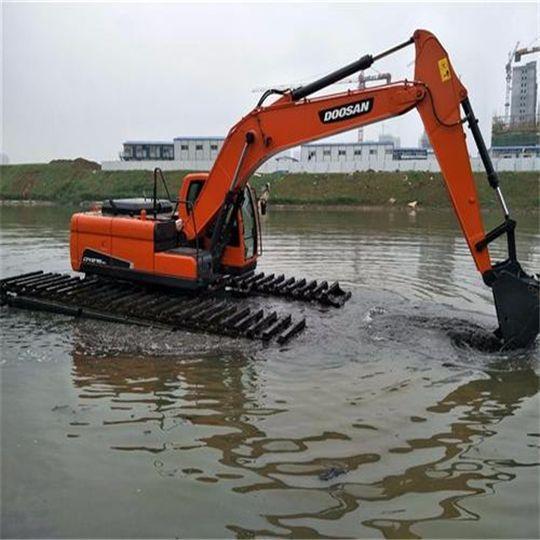 河道清淤设备 船挖出租 水上淤泥清理挖掘机租赁 湿地挖掘机