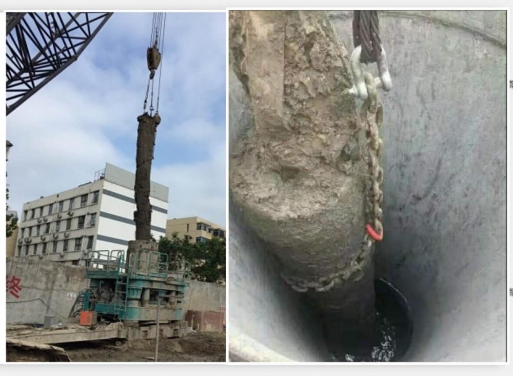 住友PC460打桩锤拔桩预制管桩/地下旧桩拔除 全回转套管钻清障拔桩-上海专业拔桩清障公司