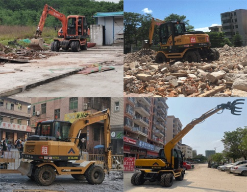 深圳轮式挖土机炮机夹木机抓木器出租